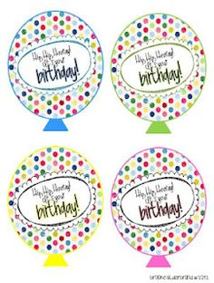Birthday balloons-print and put on a swirly straw or large pixie stick or a pencil.