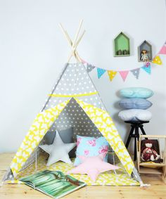 Childrens teepee Playtent Tipi Play Teepee Zelt Wigwam Kids Teepee Tent Teepee with Mat- Scandi Love Childrens Teepee, Kids Teepee Tent, Indoor Play, Joy And Happiness, Floor Mats, Play Houses, Kids Room, Toddler Bed, Cabanas