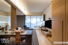 Sliding partition between the living room and bedroom allows you to have an intimacy and privacy whenever you want.