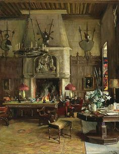 """Sir John Lavery - """"The Gothic Room, 901 Fifth Avenue"""" 1926. This painting is often mis-titled on Pinterest as """"The Salon, 901 Fifth Avenue""""--thanks to another site where it's also mis-identified--but the Salon was a completely different room, and one that still exists--although in a new home.--Magnaverde."""