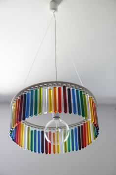 Test tube chandelier with coloured water
