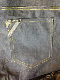 New vice back pocket. With inverted denim.