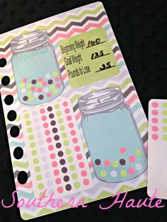 Mason Jar Weight Loss Planner Insert Made to by SouthernHaute