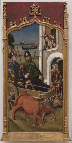 """""""Traslado del cuerpo de Santiago el Mayor ante el palacio de la reina Lupa"""", Martín Bernat, 1480-1490."""