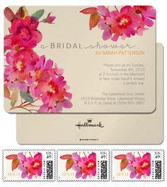 Pink Waterflower Invitation - Boho Botanical Bridal Shower - Rustic Garden Party Theme