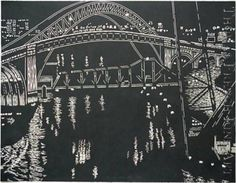 Bridges over Cuyahoga River, Cleveland by Yvonne Jacquette