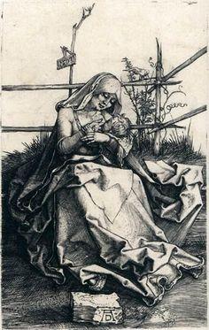 'Vierge et l Enfant sur un banc Grassy', gravure de Albrecht Durer (1471-1528, Germany)