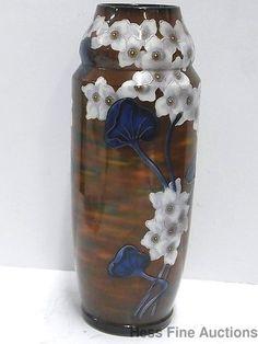 Antique Germany Royal Bonn Art Nouveau 10.5in Tall Pottery Lotus Vase