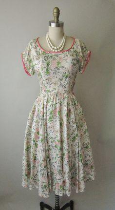 50's Silk Floral Dress // Vintage 1950's Floral Print Garden Party Mad Men Summer Dress XS. $114.00, via Etsy.