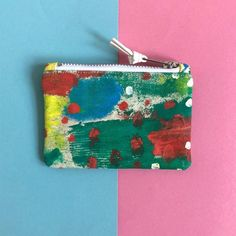 Hand Painted Cotton Canvas Coin Purse, Abstract Art Zip Pouch, Small Zip Case, Original Painting, One of a kind Printing Ink, Silk Screen Printing, Disability Art, Handmade Cosmetics, Experiment, Cotton Canvas, Larger, Original Paintings, Coins