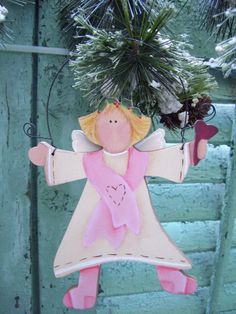 HOPE Angel Ornament  Breast Cancer Awareness  by rusticgoodsandco