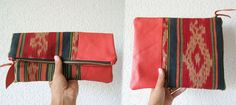 Leather and fabric clutch. Very nice.