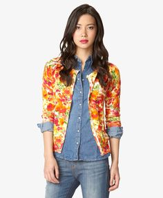 Essential Watercolor Cardigan | LOVE21 - $19.80  color burst, layering with denim shirt
