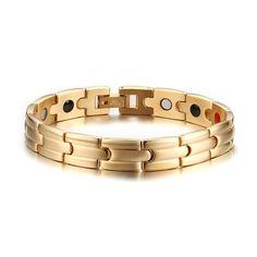 Gold Color Titanium Steel 21cm Magnetic Health Care Bracelet Men Jewelry Accessories Mens Bracelets 2017 Free Shipping