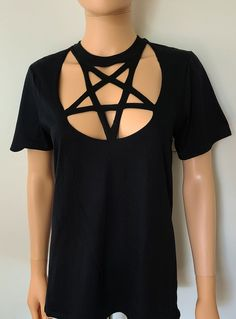 Pentagram Neckline Cut Out T Shirt / Faux Harness Pentacle | Etsy Cutout Shirts, Laser Cutter Ideas, Diy Clothes, Pentacle, Cool Style, Neckline, How To Wear, Shirt Cutting, Star
