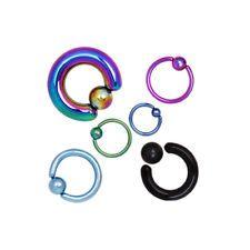 6 pc Lot Stretching kit horseshoe White Zebra Black Ring lip earring hoop nipple 12g 10g 8g belly