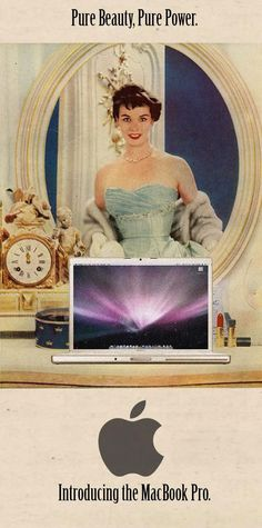Vintage ad for a modern product- MacBook Pro [Audrey Hepburn-esque, no?]