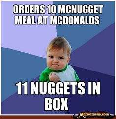 Orders 10 mcnugget meal at mcdonalds / 11 nuggets in box
