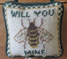 Charming-Little-Hanging-Bee-Themed-Needlepoint-Pillow-For-Your-Sweetheart