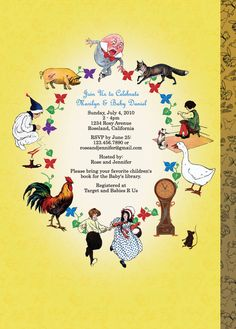 Back of baby shower invite Customized Mother Goose Invitation, Nursery Rhyme Invitation for Baby Showers or Birthdays...buy on Etsy