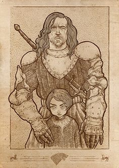 Etsy art poster Game of Thrones Arya Stark and The Hound Digital ink illustration A2 on Etsy, $48.00
