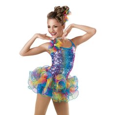 6765+Razzle+Dazzle+-+Rainbow+square+sequin+mesh+sparkles+over+this+spandex+biketard.+A+glitter+ombré+pouf+with+jewel+center+details+the+camisole+neckline.+Narrow+binding+straps+cross+in+back.+The+ombré+tulle+skirt+is+attached+at+the+drop+waist,+and+features+a+peacock+fishing+line+curly+hem.+Made+in+the+USA. Includes:+Hair+pouf,+rhinestone+choker.