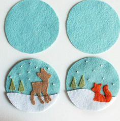 genähte Weihnachtsdeko mit Hirsch und Fuchs