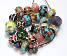 Orphan Set of Handmade Artisan Lampwork Beads by blancheandguy