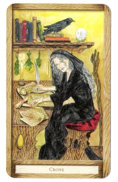 """The word 'Crone' became further specialized as the third aspect of the Triple Goddess popularized by Robert Graves and subsequently in some forms of neopaganism, particularly Wicca in which she symbolizes the Dark Goddess, the dark of the moon, the end of a cycle. In new age and feminist spiritual circles, a """"Croning"""" is a ritual rite of passage into an era of wisdom, freedom, and personal power."""