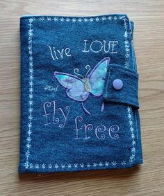 Butterfly Denim Cover Mini Composition, Notebook Cover, Journal, Jacket, Bible Cover, Reusable by DenimDelightsByLinda on Etsy