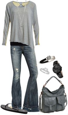 """""""My kind of Comfort"""" by tmlstyle ❤ liked on Polyvore. It needs a different purse. But love the shirt."""