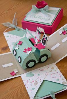 Explosionsbox 15x15cm - Hochzeitsauto - Idee