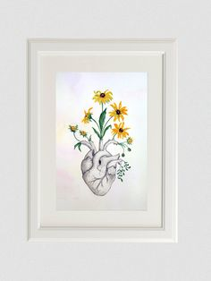 Heart flowers anatomy art painting black-eyed-susan