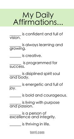 PRINTABLE DAILY AFFIRMATIONS AND DECLARATIONS Your words are powerful and the words you speak about yourself are even more powerful. Discover what to say from God's Word about your freedom, faith, finances, family, fitness, and your future dreams and goals.  Program your mind for success through positive declarations and affirmations to become happier, healthier, and more productive today! Click on the Pin to order my book Pep Talk & find out more about affirmations.