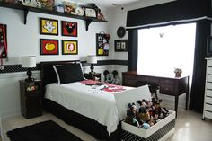Love this Mickey themed room - the shelf over the bed is great for displaying collectibles!