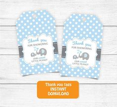 Printable Thank you Tags Blue Grey Baby Shower Elephant Thank