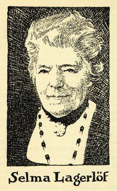 1938 Wood Engraving Selma Lagerlof Swedish Author Portrait Adventures Nils XGG1