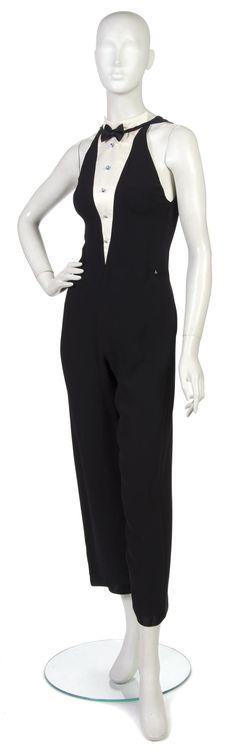 Geoffrey Beene Black Silk Tuxedo Halter Jumpsuit.