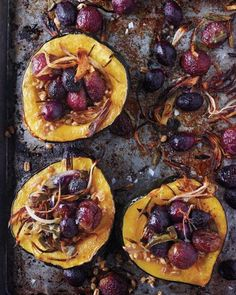 Roasted Squash with Shallots, Grapes, and Sage Recipe | marthastewart.com | #vegan #rsf make it #gf by using quinoa for the grain
