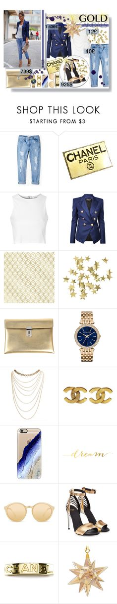 """""""The sandals of gold"""" by mariamharrasova ❤ liked on Polyvore featuring Mode, MANGO, Chanel, Glamorous, Balmain, Brewster Home Fashions, H&M, Golden Goose, Michael Kors und Wet Seal"""