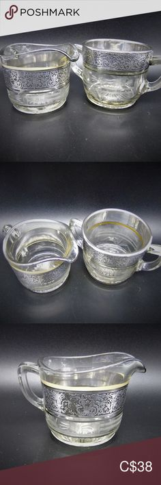 I just added this listing on Poshmark: Vintage Etched Glass Cream and Sugar Set. Etched Glass, Glass Etching, Crystal Glassware, Cream And Sugar, Serveware, Simple Way, Overlays, Chips, Buy And Sell