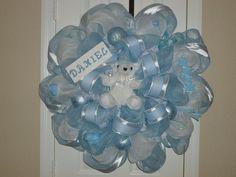 Welcome Baby Boy Deco Mesh Wreath. $90.00, via Etsy.