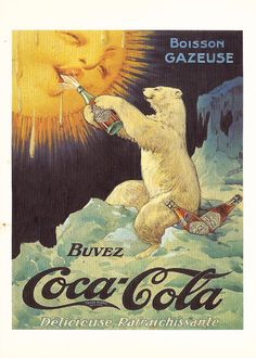 Vintage French Coca-Cola Polar Bear Coke Postcard