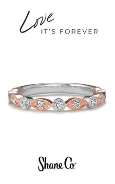 Two colors of gold make for one fabulous Valentine's Day ring. Eleven round diamonds (approximately .28 total carat weight) add brilliant sparkle to this vintage-inspired design. With alternating sections of 14k white gold and our signature shade of 14k rose gold, this delicate ring looks lovely on its own or with other bands in a personalized ring stack.