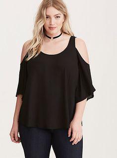 Georgette Cold Shoulder TopPlus Size Georgette Cold Shoulder Top, DEEP BLACK