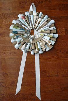 vintage paper spring wreath