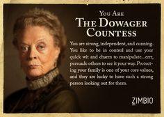 I took Zimbio's 'Downton Abbey' quiz and I'm The Dowager Countess! Who are you? #ZimbioQuiz