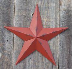 Rustic Barn Red Metal Tin Barn Star – Made in the USA!