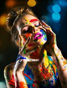 color bind by Dave Kelley Artistics Art Photography Women, Creative Portrait Photography, Paint Photography, Makeup Photography, Creative Portraits, Artistic Photography, Photography Poses, Photographie Art Corps, Shotting Photo