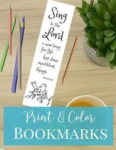 Sing to the Lord a new song, for he has done marvelous things. >>FREE PRINTABLE BOOKMARKS<< Print and color these beautiful scripture book… Free Printable Bookmarks, Bookmarks Kids, Bible Bookmark, Bookmark Printing, Bible Coloring Pages, Coloring Sheets, Sing To The Lord, Book Markers, Bible Crafts
